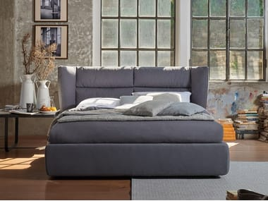 Bed double bed with upholstered headboard SANDI