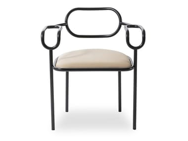 Upholstered iron chair with armrests 01 CHAIR