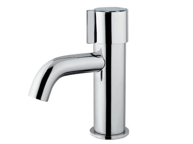 Self-closing countertop chromed brass washbasin mixer MINIMAL 08112 | Washbasin mixer