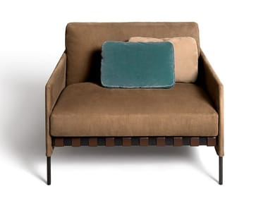 Fabric armchair with armrests ÉTIQUETTE | Armchair