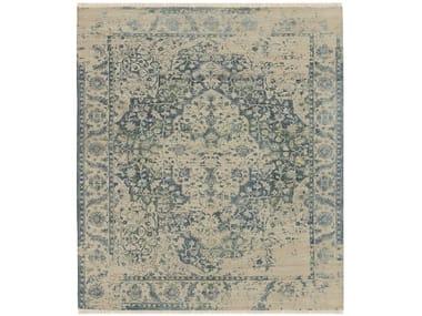 Handmade rectangular rug in wool ans silk TEHRANI BLUE BEIGE