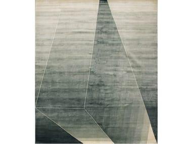 Handmade rectangular silk rug BEAM JADE