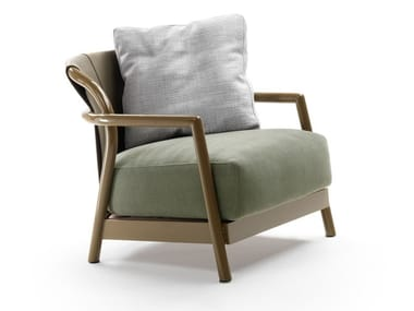 Fabric garden armchair with removable cover with armrests ALISON | Garden armchair