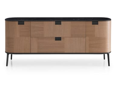 Wooden sideboard with flap doors TESAURUS | Sideboard