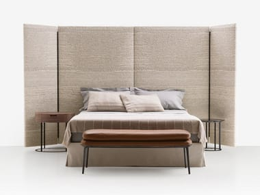 Fabric double bed with high headboard DIKE