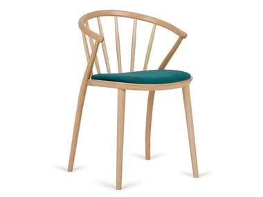 Contemporary style wooden restaurant chair with armrests with integrated cushion 1
