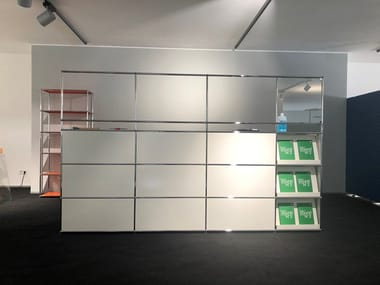 Modular reception station with a protection screen USM HALLER PURE WHITE