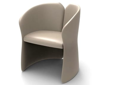 Upholstered cowhide chair with armrests FLOWING CLOUD | Chair