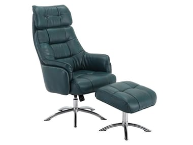 Leather armchair with 5-spoke base with footstool CH-175700   Armchair