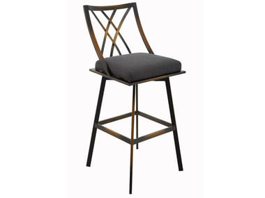 High metal stool with integrated cushion USBY-182039X000 | Stool