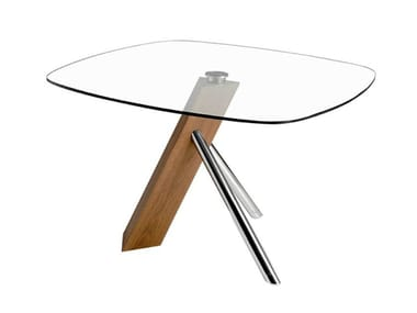 Square wood and glass living room table 1035 | Table