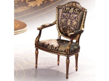 Sedia imbottita in tessuto con braccioli 1070 | Sedia con braccioli