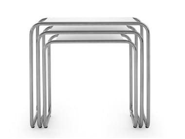 Sled base stainless steel and wood bistro side table 119 - E | Coffee table
