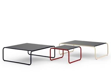 Tavolino a slitta basso in acciaio inox e legno per contract 120 | Tavolino