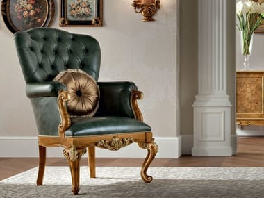 Upholstered leather armchair with armrests 12435 | Armchair