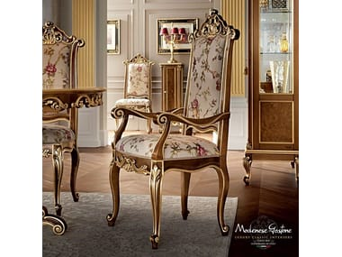 Upholstered solid wood chair with armrests 12502 | Chair with armrests