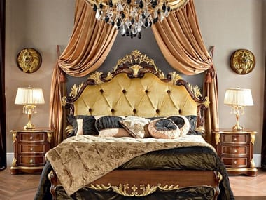 Bed double bed with high headboard with tufted headboard 13201 | Bed