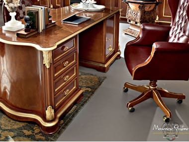 Rectangular wooden writing desk with drawers 13302 | Writing desk