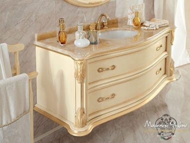 Wall-mounted vanity unit with doors with drawers 13699   Vanity unit