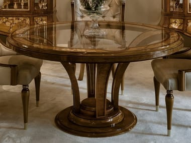 Tavolo rotondo in legno di castagno con piano in vetro 1430 | Tavolo