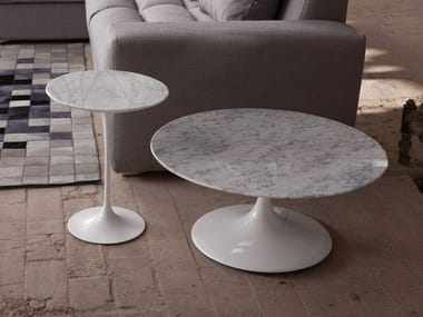 Low round Carrara marble coffee table 1769/4 - 3 | Carrara marble coffee table
