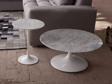 Low round Carrara marble coffee table 1769/4 - 3 | Carrara marble coffee table
