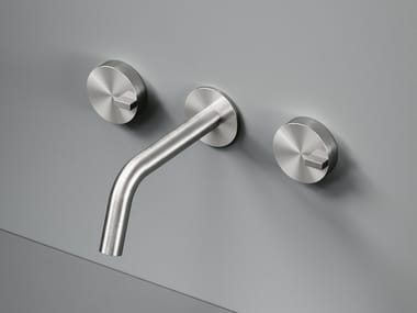 Wall-mounted stainless steel washbasin tap Q. 18 10V