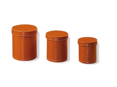 Tanned leather storage box 1980 TUBO | Storage box