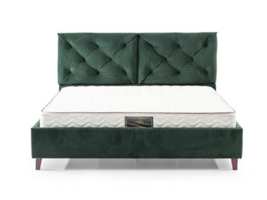 Fabric double bed with tufted headboard EB0126 | Bed