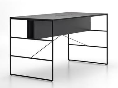 Tavolo da riunione alto rettangolare in fibra di legno con sistema passacavi 20.VENTI HIGH