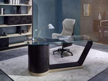 Glass executive desk with drawers 2019 | Glass office desk