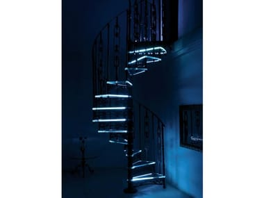 Cast iron and glass Spiral staircase 2052 | Glass Spiral staircase