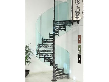 Cast iron and glass Spiral staircase 2070 | Glass Spiral staircase