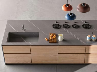 Porcelain stoneware kitchen worktop with stone effect 20PURE