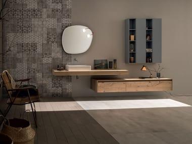 Wall-mounted oak vanity unit 21 ROVERE NODATO