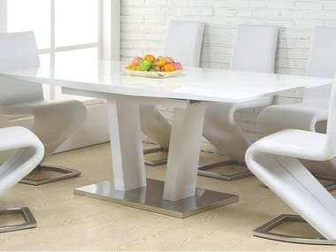 Lacquered rectangular wooden dining table 22 | Table