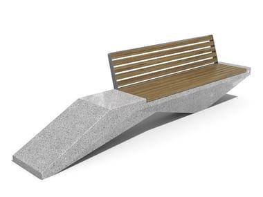Panchina in calcestruzzo e legno con schienale 246 | Panchina in calcestruzzo