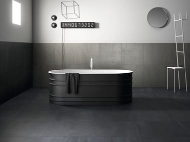 Indoor/outdoor porcelain stoneware wall/floor tiles with concrete effect with resin effect 250 F FROST