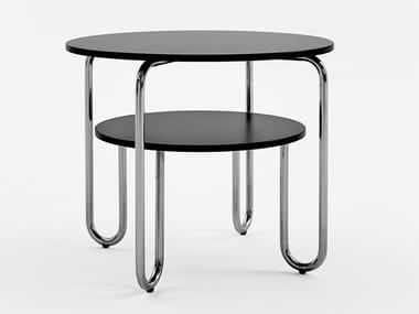 Tavolino in acciaio inox e legno con portariviste per contract 261 - E | Tavolino