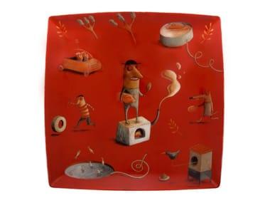 Square porcelain plate 2i - by João Vaz de Carvalho