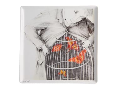 Square porcelain plate 2i - by Joanna Concejo