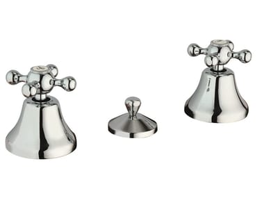 3 hole brass bidet tap with individual rosettes CHÈRIE | Bidet tap