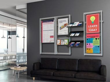 Wall-mounted one-sided aluminium display unit for brochures Aluminium display unit for brochures