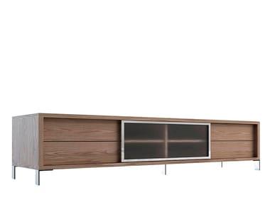 Low wood veneer TV cabinet with drawers 3044