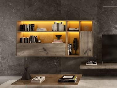 Floating wooden bookcase with secretary desk 30MM | Bookcase with secretary desk
