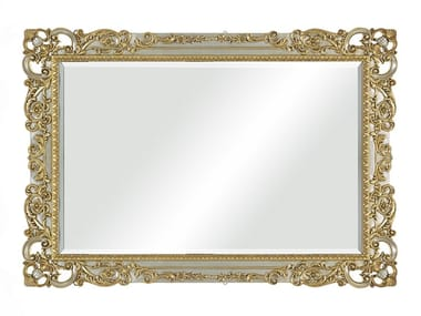 Rectangular framed wall-mounted silver leaf mirror 35TH ANIVERSARY 2551
