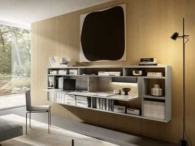 Floating bookcase with secretary desk 36E8 DESK