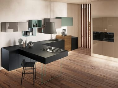 Fenix-NTM® kitchen with peninsula 36E8 FENIX | Kitchen with peninsula