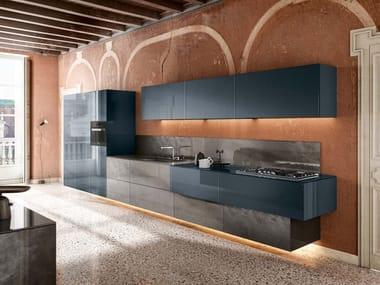 Linear wall-mounted kitchen 36E8 METAL XGLASS   Linear kitchen