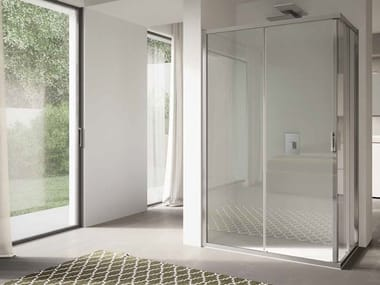 Corner glass shower cabin with sliding door 4.0 - QT1S+QT1S